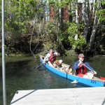 Beagles canoeing in Crystal River
