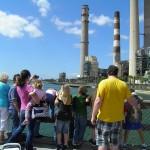 Tampa Electric Manatee Viewing Area Platform. Kids hanging dangerously on rail.