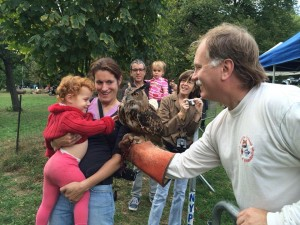 Wildlife rehabilitator Bobby Horvath introduces my daughter to an owl