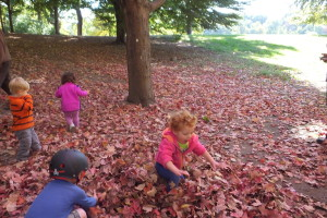 Outdoor playgroup in the leaves