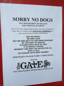 Dogs sadly no longer allowed at The Gate in Brooklyn's Park Slope.